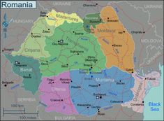 Romania Regions map - Romania – Travel guide at Wikivoyage Romania Tourism, Romania Travel, Moldova, Eastern Europe, Hungary, Travel Guide, Monaco, Travelling, Middle Ages