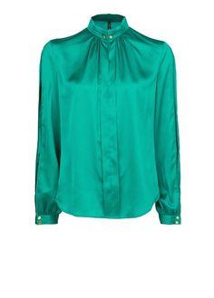 MANGO - CLOTHING - Tops - Greens - Bishop sleeve satin blouse