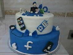Elaine Biscuit Mania: bolo fake festa facebook garoto conectado