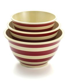 Look at this #zulilyfind! Red Stripe Mixing Bowl Set #zulilyfinds