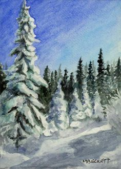 ACEO TW JAN Original Painting Winter Forest snow landscape trees trail #Impressionism