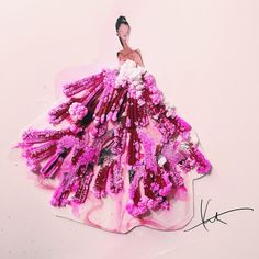 Giambattista Valli gown made of crystals (finished product) by Katie Rodgers…