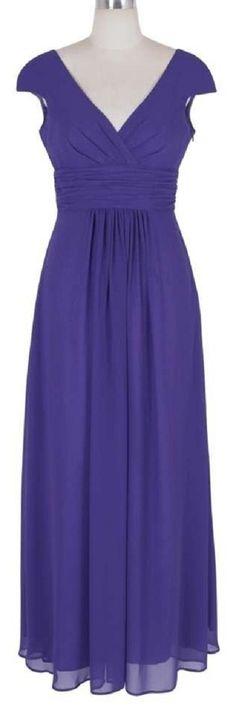 Purple Long Elegant Pleated Waist Mini Sleeves Formal Dress. Purple Long Elegant…