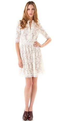 lace. love this for a casual small wedding or a reception dress.