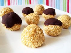 Puffed Quinoa Peanut Butter Balls; leave out agave nectar and chocolate of course.