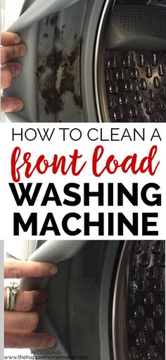 How to Clean a Front Load Washing Machine, including how to remove and prevent mold build up inside the gaskets. Great cleaning tips! Cleaning Mold, Deep Cleaning Tips, Household Cleaning Tips, Toilet Cleaning, House Cleaning Tips, Diy Cleaning Products, Spring Cleaning, Cleaning Hacks, Clean Washing Machine