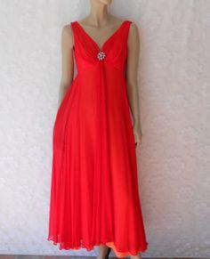 dcb3024d95ba Vintage Evening Dress, 60's Red Chiffon Mike Benet Formal Evening Dress