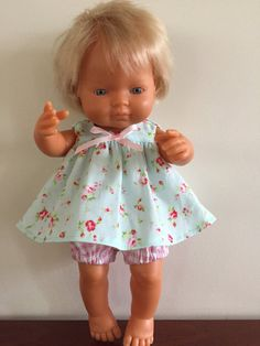 Blue Floral over Pink Check Romper Outfit by DebsDollsClothes