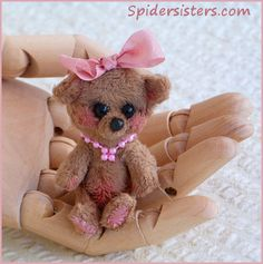Pinky is a Micro Mini Teddy Bear~Original Spiders Sisters design~  for sale now on ebay item #151128187788   Please stop by and see what else we have listed. :)