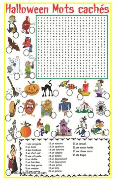 Teaching 258534834839320334 - Halloween Mots cachés Plus Source by severinetapin Theme Halloween, Halloween Games, Halloween Activities, Holiday Activities, Halloween Crafts, Halloween Vocabulary, Halloween Worksheets, French Teaching Resources, Teaching French