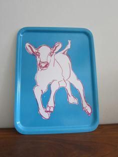 Marimekko Tray Kevatjuhla Blue Cow Calf Spring Miina Marimekko, Bar Lighting, Getting Organized, Cow, Tray, Colours, Nice, Spring, Kitchen