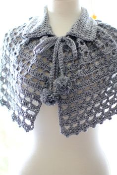 Mystical Cape. Pattern by Red Heart. Project and photos by Mademoiselle Mermaid. Crochet Bolero, Crochet Lace Scarf, Crochet Cape, Crochet Shawls And Wraps, Crochet Collar, Crochet Scarves, Lace Knitting, Crochet Clothes, Knit Crochet