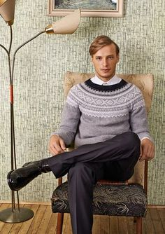 Marius PulloverCost of pattern refunded, if you buy yarn to knit this garment at the same time. Nordic Sweater, Men Sweater, Icelandic Sweaters, Boys Sweaters, Fair Isle Knitting, Knit Fashion, Knit Patterns, Ikon, Knit Crochet