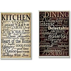 'Dining Words' and 'Kitchen Words' Kitchen Wall Plaques  http://www.overstock.com/Home-Garden/Dining-Words-and-Kitchen-Words-Kitchen-Wall-Plaques/6751433/product.html?refccid=YLUEL4PEAHVLAWCEYAZ4KAY4DA&searchidx=25