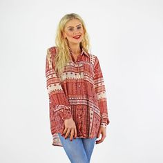 Glamorous Cream Rose & Brick Red Scarf Print Long Sleeve Baggy Shirt £19.99 Available Instore And Online www.pinkcadillac.co.uk Baggy Shirts, Pink Cadillac, Cute Crop Tops, Red Scarves, Cream Roses, High Fashion, Womens Fashion, Bandeau Top, Crochet Top