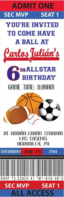 Sport theme parties on pinterest theme parties sports for Sports ticket template free download