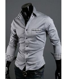 Checkered Contrast Grey Shirt