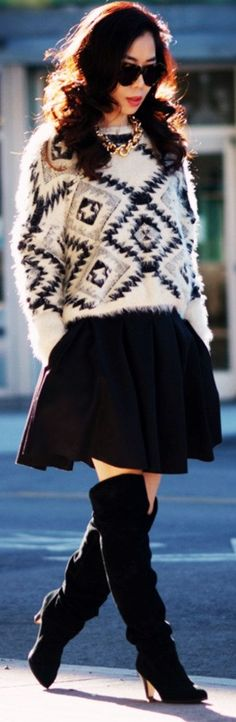 Sweater Season: Oversized Sweater + Pleated Skirt by Hallie Daily
