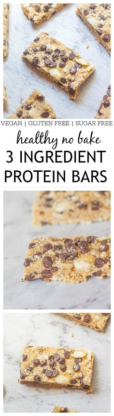 You only need three ingredients and less than five minutes to whip up these healthy 3 ingredient no bake protein bars! Customisable too! -thebigmansworld.com #proteinbar #snack #recipe
