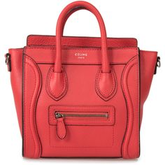 Céline Red Leather Nano Satchel ($1,850) ❤ liked on Polyvore featuring bags, handbags, satchel handbags, red satchel, leather satchel, leather satchel handbags and celine purse