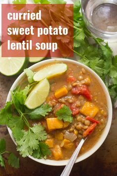 This curried lentil sweet potato soup is rich, flavorful, and requires about ten minutes of prep, followed by hours of gloriously fragrant simmering away in the slow cooker. Hearty enough for a healthy dinner, packed with flavor, vegan, vegetarian, and gluten-free! #veganrecipes #lentilsoup #slowcooker #healthysoup Slow Cooker Lentil Soup, Slow Cooker Curry, Curried Lentil Soup, Vegan Slow Cooker, Lentil Curry, Vegan Dinner Recipes, Veg Recipes, Delicious Vegan Recipes, Vegan Dinners