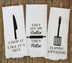 Hilarious tea towels for the foodie or music lover.  Great gift idea! | A2DCreations