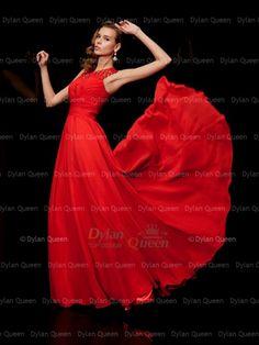 09f193387b19 A-Line Princess High Neck Sleeveless Pleats Floor-Length Dress (DylanQueen  N14D02316G