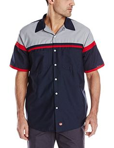 9e3118189 Red Kap Men's Performance Tech Shirt, Navy Light Grey, La... https