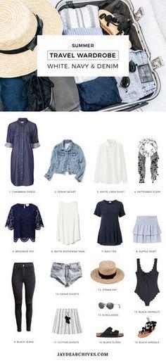 Summer Travel Wardrobe: White, Navy