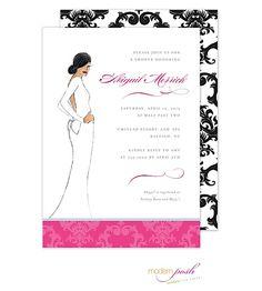Modern Posh | Bridal Showers | Ethnic Diva Invitation (Modern Posh) | The Desktop Diva Stationery PrintsWell Store