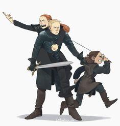 Arya Stark, Sansa Stark, Brienne of Tarth - Game of Thrones Dessin Game Of Thrones, Game Of Thrones Meme, Jaime Lannister, Live Action, Stark Girls, Game Of Thones, Fandoms, Iron Throne, Sansa Stark