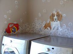 Great laundry room idea!! But with pictures of my dogs!