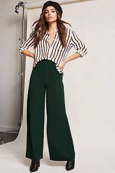 forest green high waist wide leg pants make great seasonal work wear // work clothes for young women professional, work clothes for women on budget business casual