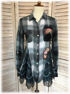 Upcycled Small S Romantic Girly Grunge Feminine Flannel
