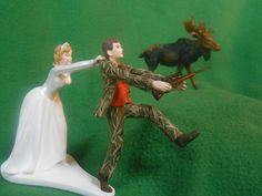 Funny Wedding Cake Toppers | funny wedding cake topper real tree camo camouflage hunting MOOSE