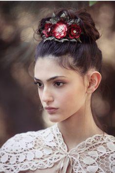 Bridal Floral Crown head piece wedding hair by Kululush on Etsy, $87.00  www.kululush.com photo by Yifat Verchik http://www.verchik.com