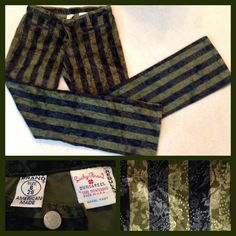 """Lucky Brand velvety pants size 6 Rare Lucky Brand black & green striped velvet like pants purchased in Vegas. Has a floral damask print. Super fun pants to wear for a night out on the town! Size 6/28. Inseam 31"""". Waist band measures 15 1/2"""",  hips at widest measure 19"""". Has some stretch. These have been worn only twice. Lucky Brand Pants"""