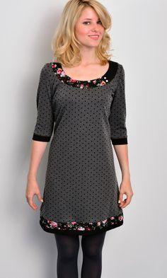 Knielange Kleider - Jersey Kleid - grau - Polka Dots - Blumen - ein Designerstück von stadtkind_potsdam bei DaWanda