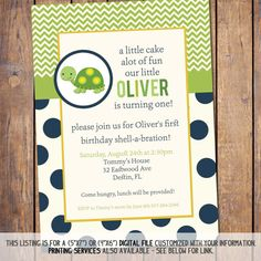 First boy Birthday Invitation with turtle digital, green and blue printable invitation, birthday party invites printable (item95a)