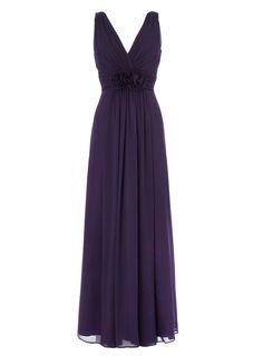 BHS Nadine Aubergine Chiffon Bridesmaid Dress £125