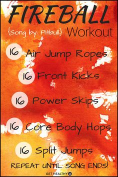 Song Workouts Turn up the tunes and get sweating! This is a no-equipment one song workout for Fireball!Turn up the tunes and get sweating! This is a no-equipment one song workout for Fireball! Fitness Workouts, One Song Workouts, Cheer Workouts, Workout Songs, Fit Board Workouts, At Home Workouts, Song Workout Challenge, Circuit Workouts, Morning Workouts