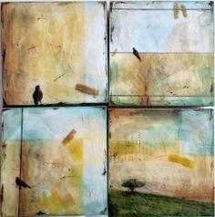 Morning Revelations - mixed media encaustic SET of 4