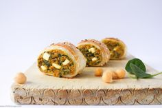 Spinach, chickpea and sweet potato sausage rolls *