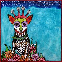 Chihuahua Dog Art Collage by RobiniArt Sugar Skull Day of Dog Pop Art, Dog Art, Dog Paintings, Original Paintings, Sugar Skull Art, Sugar Skulls, Candy Skulls, Mexican Folk Art, Mexican Fabric