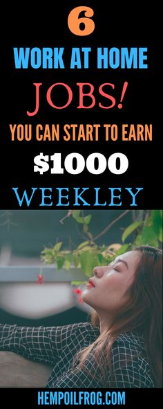 6 Work At Home Jobs You Can Start and Get $1000 Weekley: Work at Home Jobs That Pay Weekly 6 Online Jobs That Pay Weekly. Legitimate Work at Home Jobs that Pay Weekly. Legit Online Jobs Pay Weekly Cash Online Work From Home, Work From Home Business, Work From Home Moms, Make Money From Home, How To Make Money, Make Money Blogging, Money Tips, Saving Money, Home Business Opportunities