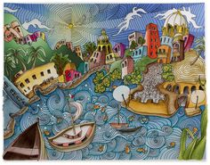 """Ischia Italy, From Lizzie Mary Cullen book """"Magical City"""". Colored by Me (Roger Malinowski) using Tombow watercolor markers, Intense pencils and a blender"""