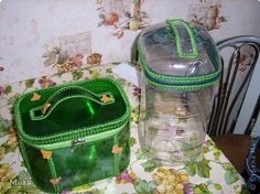 Beverage bottles made into decorative boxes. pieces are joined with crochet.