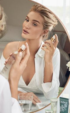 """Rosie Huntington-Whiteley's #Beauty Secret - """"This beautiful makeup setting mist instantly rejuvenates my complexion, making my skin glow throughout the day"""" #Caudalie #Natural #Skincare"""