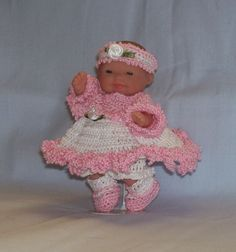 """For the 5"""" size ITTY BITTY, LOTS TO LOVE, MY SWEET LOVE MINI, OOAK (ONE OF A KIND) and BERENGUER BABY DOLLS. Features a sweet little six piece outfit. Lacy pink jacket with tiny pink button, white sundress dress with Pink Ruffles. 