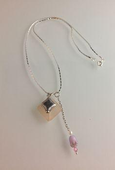 "22"" length chain, tumble glass, Czech glass & Swarovski crystal handcrafted charm."